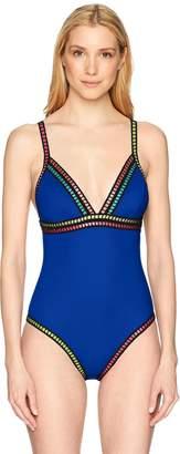 LaBlanca La Blanca Women's V-Neck One Piece Swimsuit, Black/Gold/Threading Along Print