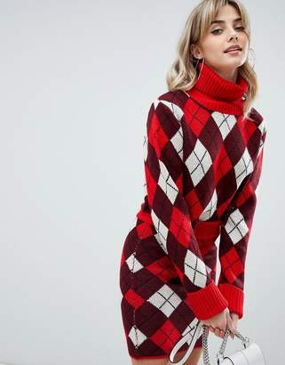 PrettyLittleThing crop roll neck sweater in red argyle