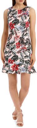 Miss Shop Cotton Sateen Frill Hem Dress - Tropical Floral