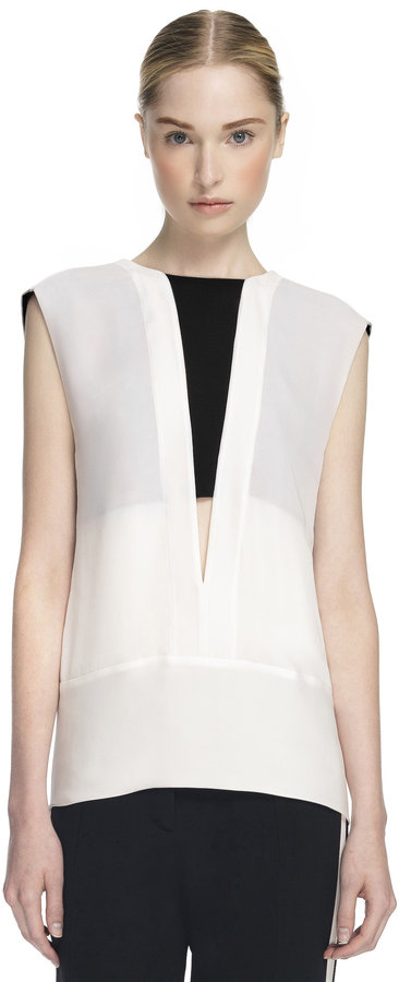 Narciso Rodriguez Narciso Rodriguez: White and Black Double Georgette Blouse