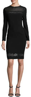 Elie Tahari Candice Long-Sleeve Lace-Trimmed Sheath Dress, Black $548 thestylecure.com