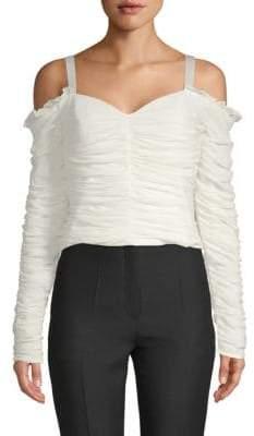 Ronny Kobo Delu Ruched Stretch-Silk Cold-Shoulder Top