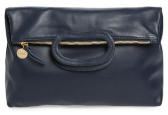 Clare V. Marcelle Lambskin Leather Foldover Clutch - Blue $265 thestylecure.com