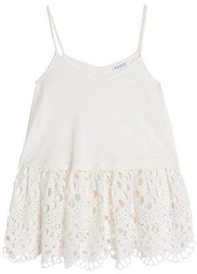Claudie Pierlot Tiny Broderie Anglaise-Paneled Cotton-Jersey Peplum Top