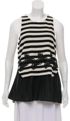 Thakoon Lace-Trimmed Striped Top