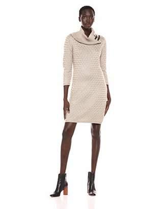 Calvin Klein Women's Waffle Knit Turtleneck Sweater Dress