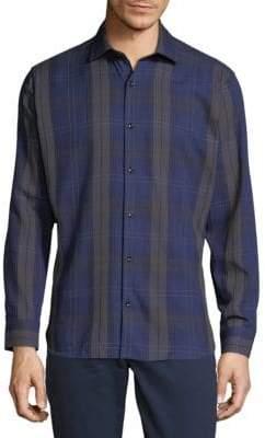 Jared Lang Check Cotton Button-Down Shirt