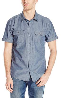 Paige Men's Flynn Short Sleeve Button Down Chambray Shirt