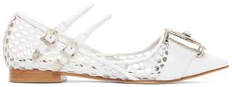 Toga Pulla White Mesh Ballerina Flats