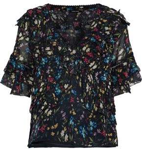 Love Sam Ruffled Floral-Print Voile Blouse