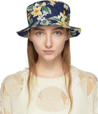 R 13 Navy Balinese Flowers Bucket Hat