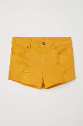 H&M Twill Shorts High Waist - Yellow