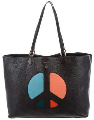 Mark Cross Leather Peace Sign Tote