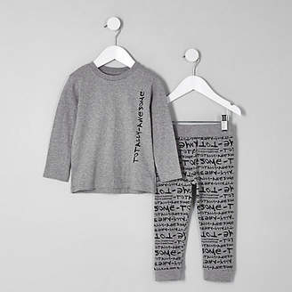 River Island Mini boys grey 'totally awesome' pajama set