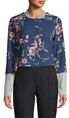 BCBGeneration Cropped Floral Embroidery Bomber Jacket