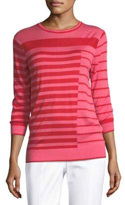 St. John Intarsia Striped Knit Sweater