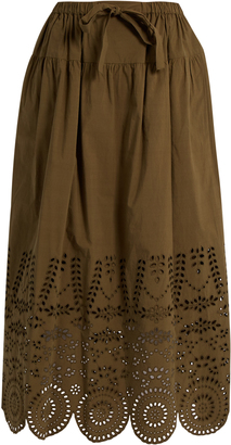 Broderie-anglaise cotton skirt