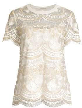 Elie Tahari Kay Floral Embroidered Blouse