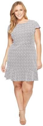 MICHAEL Michael Kors Size Jacquard Knit Short Sleeve Flounce Dress Women's Dress