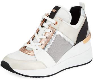 8f27596ebba7 MICHAEL Michael Kors Georgie Metallic Leather Wedge Sneakers