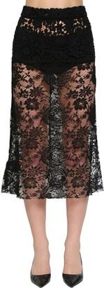 Prada Flared Chantilly Lace Midi Skirt
