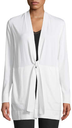 Lafayette 148 New York Lace-Back Tie-Front Cardigan