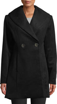 T Tahari Colette Fit & Flare Wool-Blend Coat