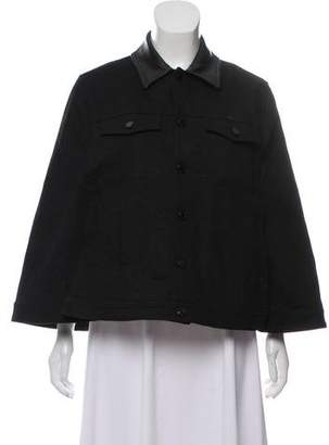 Givenchy Leather-Accented Denim Cape w/ Tags