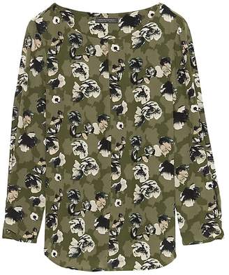 Banana Republic Floral Washable Silk Boat-Neck Top