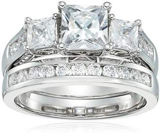 Sterling Silver 3-Stone Princess Cut Cubic Zirconia Ring
