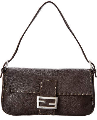 Fendi Brown Selleria Leather Baguette Bag