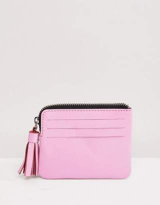 Asos Design DESIGN Leather Coin Purse With Tassel