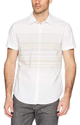 Calvin Klein Men's Short Sleeve Button Down Shirt Horizontal Stripe