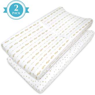 T.L.Care Tl Care TL Care 2-pk. Patterned Jersey Knit Fitted Contoured Changing Table Pad Cover