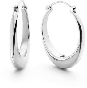 Shinola Jewelry Large Crescent Sterling Silver Hoop Earrings