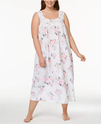 Charter Club Plus Size Lace-Trim Bouquet-Print Nightgown, Created for Macy's