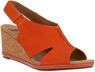 956098ff6c1 at QVC · Clarks Nubuck Wedge Sandals with Backstrap - Helio Float
