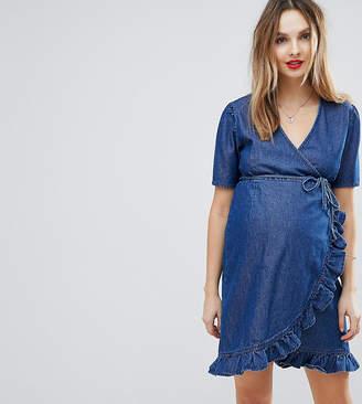 Asos Design Maternity Denim Wrap Dress In Darkwash Blue