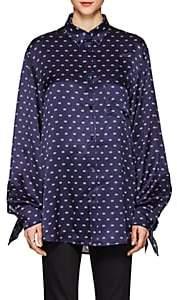 "Balenciaga Women's ""BB"" Logo-Print Silk Charmeuse Blouse - Blue"