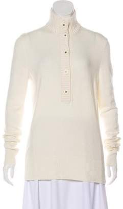Tory Burch Mock Neck Button-Accented Sweater