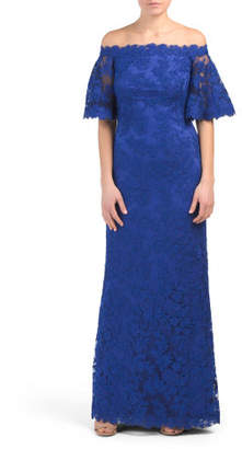 Off The Shoulder Short Sleeve Lace Gown
