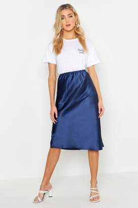 boohoo Satin Bias Cut Midi Skirt