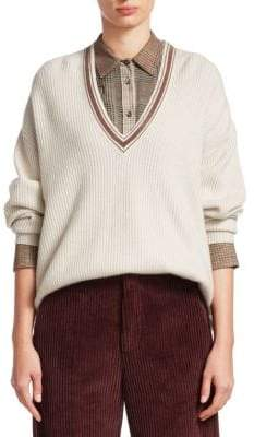 Brunello Cucinelli Ribbed Cashmere V-Neck Sweater