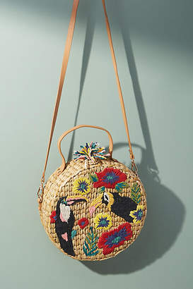 Anthropologie Toucan-Embroidered Straw Crossbody