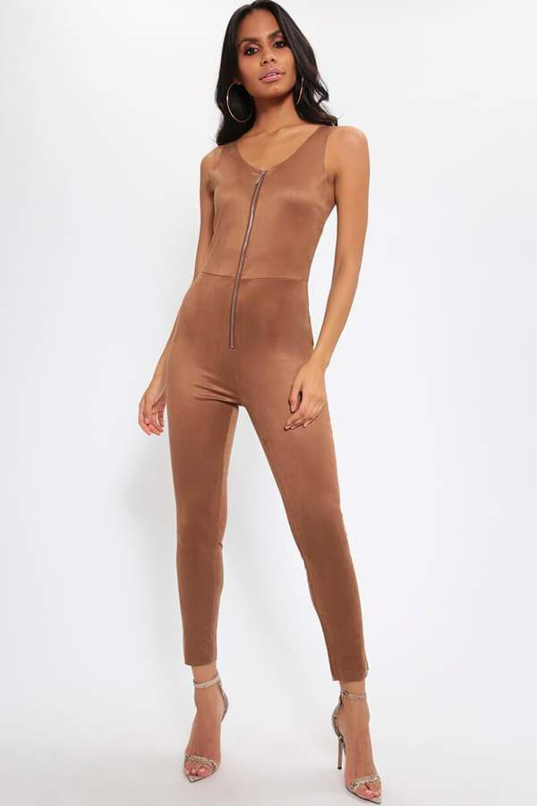 Isawitfirst Brown Faux Suede Zip Up Jumpsuit