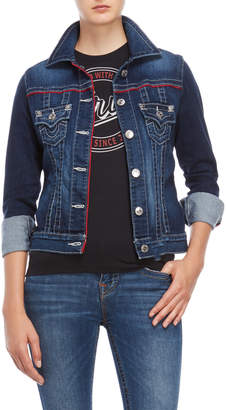True Religion Contrast Trim Denim Trucker Jacket