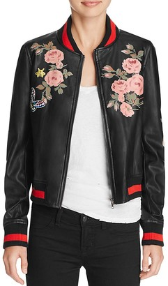 Bagatelle Faux Leather Floral Bomber Jacket $108 thestylecure.com