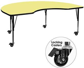 Flash Furniture Mobile 48 by 72-Inch Kidney Shaped Activity Table with Thermal Fused Laminate Top and Height Adjustable Pre-School Legs