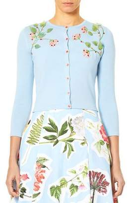 Carolina Herrera 3/4-Sleeve Button-Down Cardigan w/ Floral Leaf Embroidery