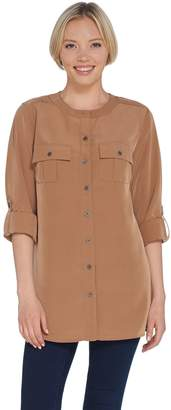 Denim & Co. Woven Long Sleeve with Roll-Tab Utility Tunic